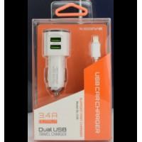 Xssive Duo autolader met iphone kabel 3.4A